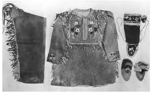Dogrib moccasins, moosehide coat, and moosehide leggings such as these would have made up late traditional dress.