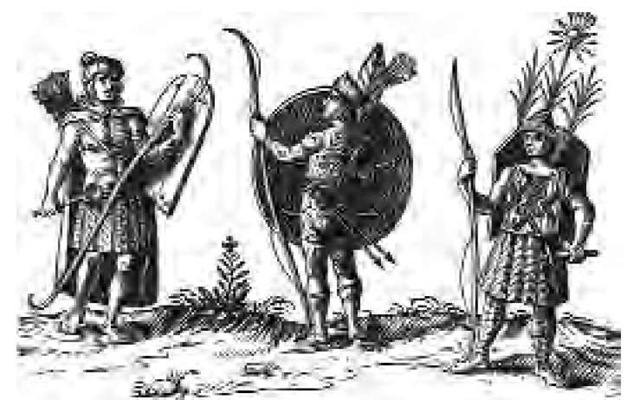 A seventeenth-century European view of New France natives. The Huron warrior on the right wears a suit of wooden slats, while the one on the left is identified as a Montagnais.