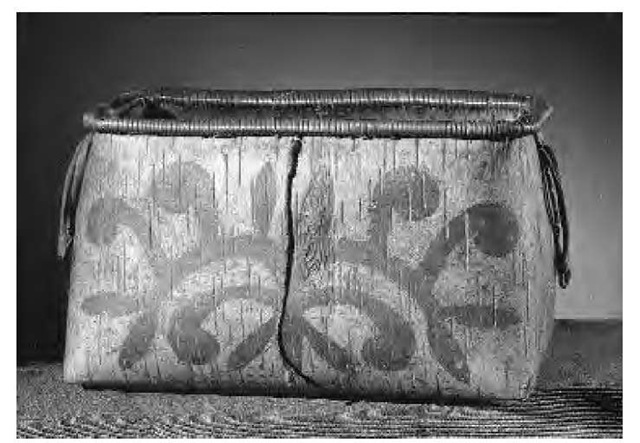 The Naskapi/Montagnais fashioned birch bark or animal skins into storage containers such as this one.