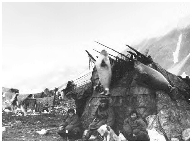 Edward S. Curtis's photo of an Inuit hut and family. In the summer, the Inuit constructed summer tents of seal or caribou skin over bone or wood frames.