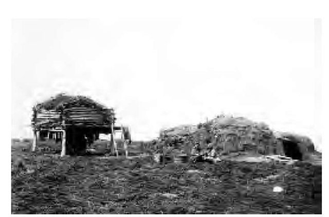 An Arctic dwelling made of sod (right) and a storehouse (left) beside the Naknek River (1899). In this particular region of the Arctic, dwellings were mainly inhabited by related women and children. This photo also reveals the flatness of the tundra terrain. While there are few or no trees in the region, there are, during the brief summer, dwarf flowers, mosses, and lichens.