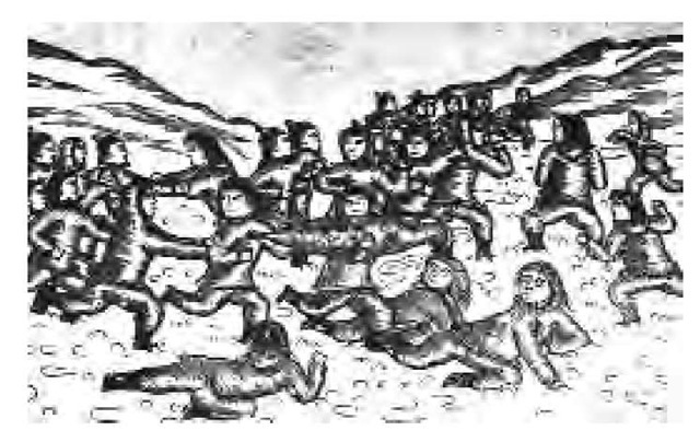 A nineteenth-century woodcut depicts an Arctic version of a ball game using a stuffed sealskin.