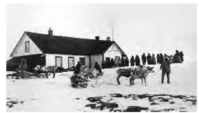 Children arrive for school in reindeer-drawn sleds. In an effort to undermine the traditional lifestyle, the U.S. government introduced reindeer to the region around 1900.