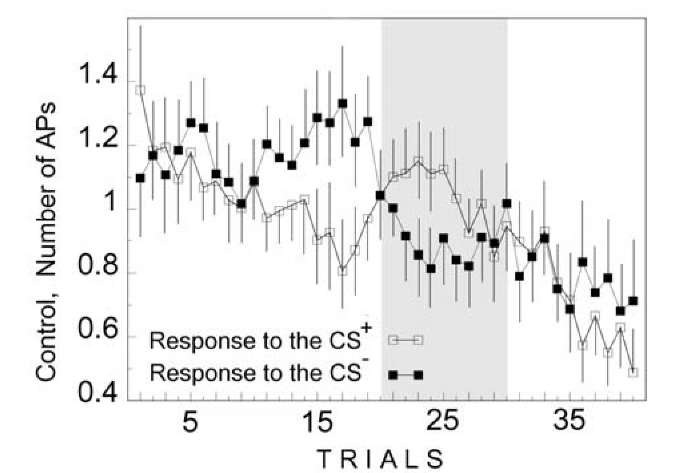 Change in AP number during instrumental conditioning in the control neurons of mollusk Helix. Ordinate, AP number; abscissa, number of trials; medians and confidence intervals are shown. Trials 20-30 are indicated. During this interval of training, control neuron response to the CS+ overcomes the local maximum. Symbols are at the Figure.
