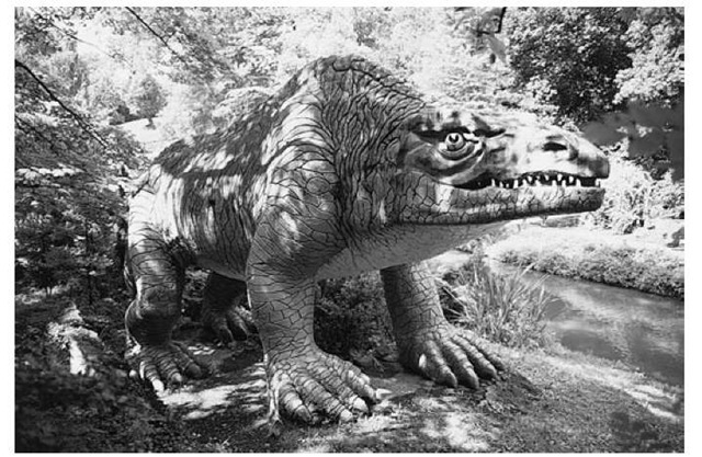 A photograph of the model of Megalosaurus in Crystal Palace Park.