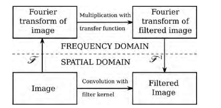 """Filtering in the frequency domain. Instead of filtering the image in the spatial domain by convolving the image with the filter kernel, the image can be transformed into frequency space by using the FFT (indicated by the symbol F). The Fourier transform of the image is then multiplied by the filter function (also called the transfer function, i.e., the Fourier transform of the convolution kernel), and the resulting frequency-space filtered image is subjected to the inverse Fourier transform (F-1). Although this """"detour"""" into the frequency domain may appear to be additional effort, the overall computational expense is dramatically less than for a convolution with large kernel sizes."""