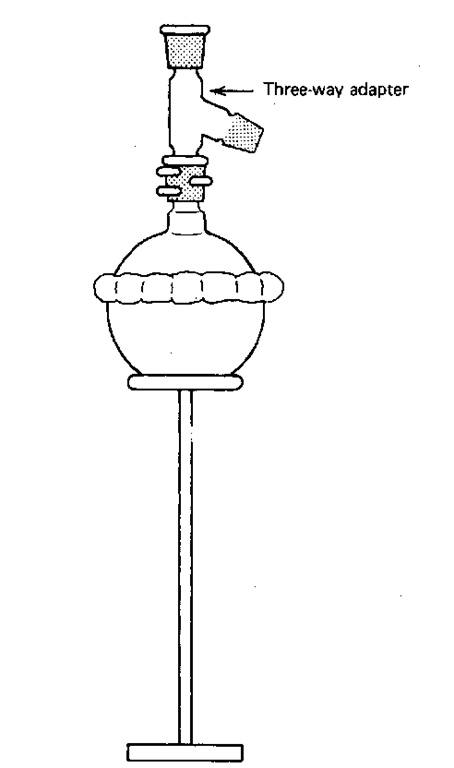 Clamps and flask and three-way adapter.