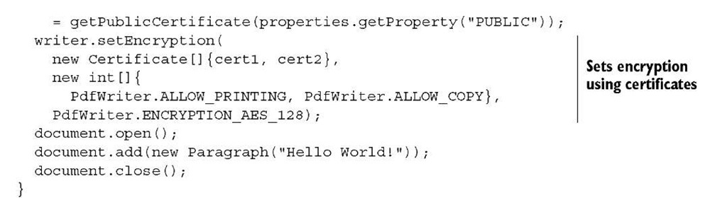 Encrypting a PDF document (iText 5)