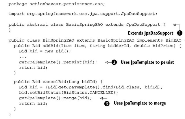 Listing 16.1 EAO implementation when using JPA from Spring applications