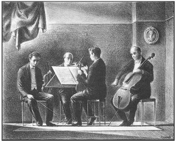 Adolf Konrad, Quartet, 1953. Lithograph, 10 x 7 3/4 in.
