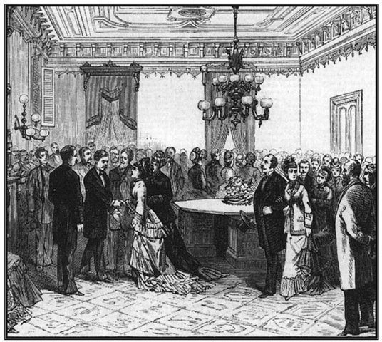 Reception for Gen. George McClellan following his inauguration as governor, January 15,1878.