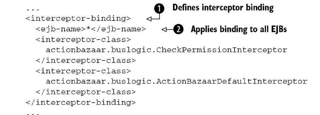 Listing 11.4 Default interceptor setting in ejb-jar.xml