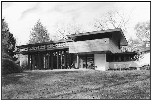 Exterior of home in Millstone designed by Frank Lloyd Wright.
