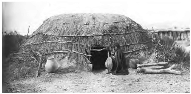 Pimas lived in small, round, flat-topped, pole-framed structures, covered with grass and mud (pictured here in 1892). In warmer weather they moved into simple open-sided brush arbors.