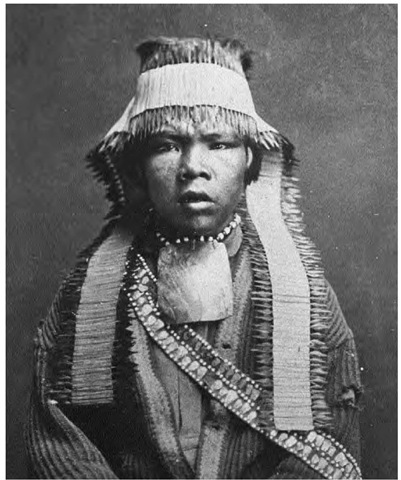 A Nisenan youth. Of the three main Maidu divisions, the valley people, or Nisenan, had the largest population and the greatest number of tribelets (permanent villages).