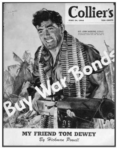 Sgt. John Basilone, USMC, on the cover of Collier's magazine, June 24,1944.