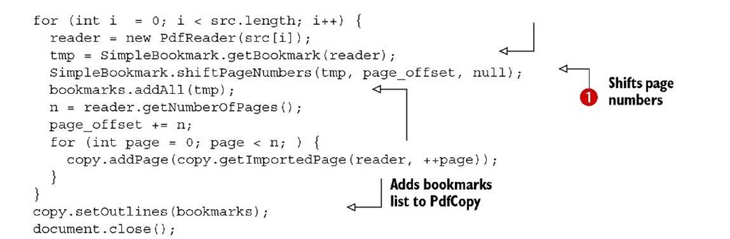 adding bookmarks itext 5
