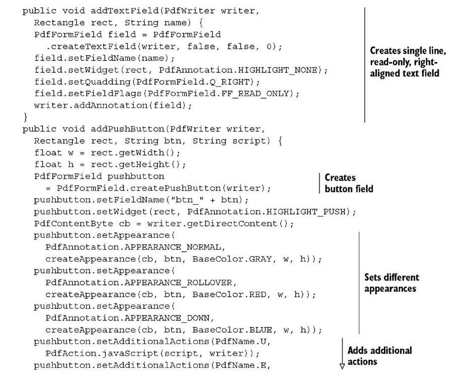 JavaScript programming in PDF (iText 5)