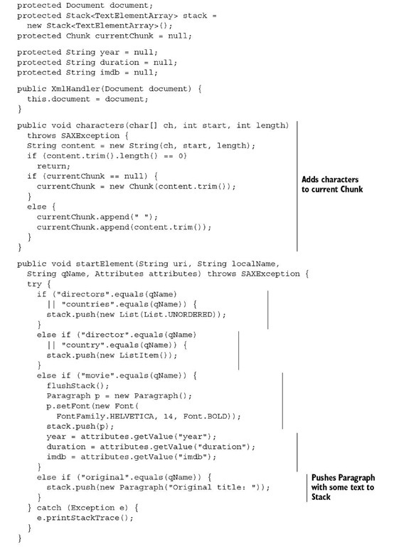 itext read pdf line by line java