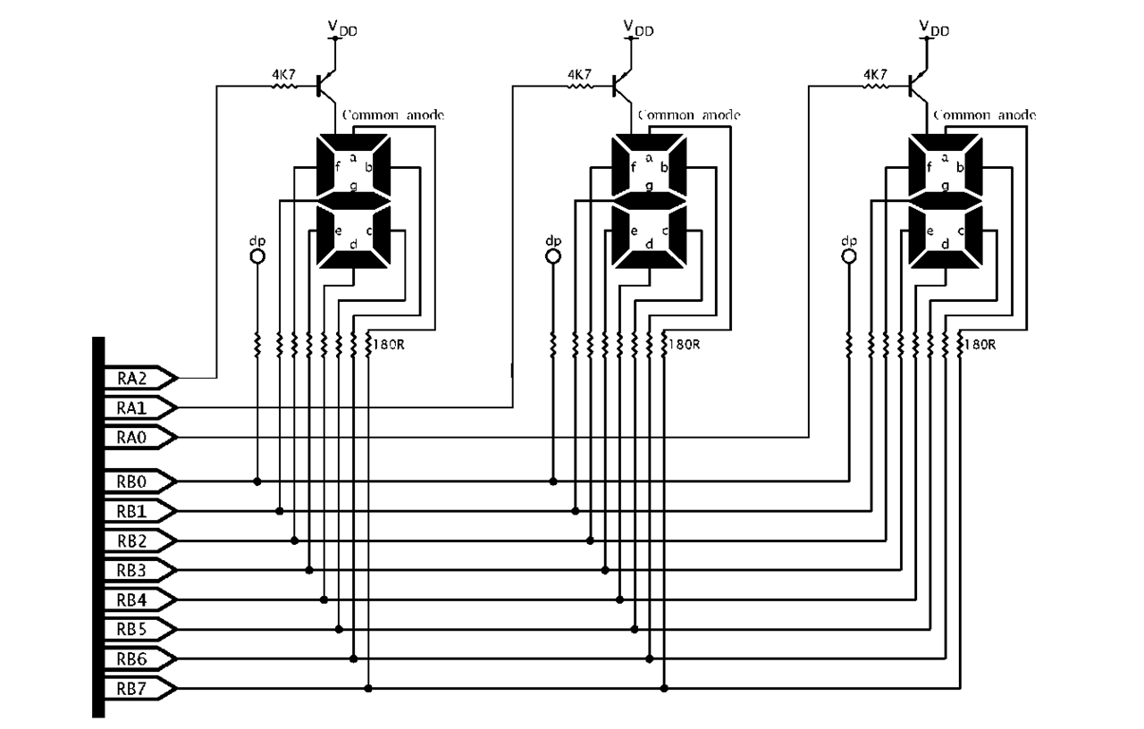One Byte At A Time Part 4 Pic Microcontroller Circuit Diagram For The 7segment Display Scanning 3 Digit 7 Segment Array