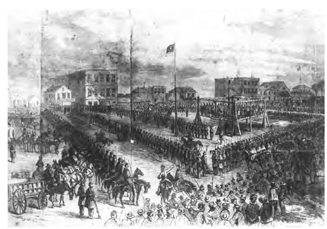 At the mercy of dishonest agents and government officials who cheated them out of food and money, the Santees rebelled in 1862. This drawing by W. C. Childs depicts the mass hanging of 32 Santee Dakota Indians at Mankato, Minnesota, on December 2, 1862, for their participation in the revolt.