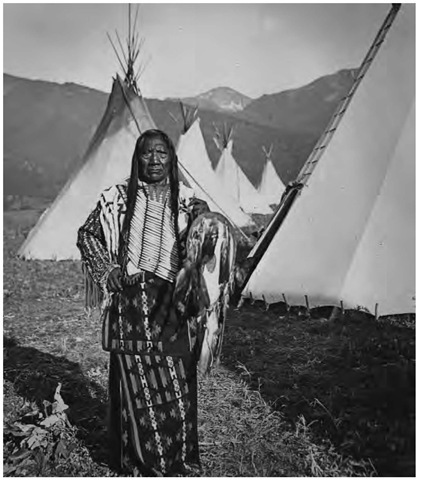 Chief Charlot at Flathead Reservation in the late nineteenth century. Chief Charlot and his people finally joined the Flathead Reservation in 1891.