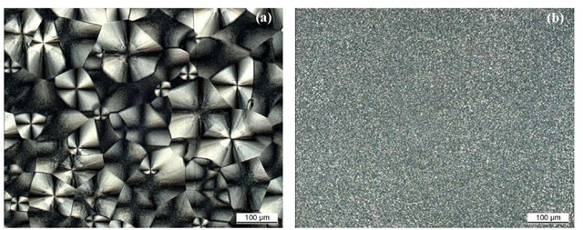 Morphology of non-sterilized monomodal PA6 (a) and bimodal I-PA6 (b) Axioskop 2 MAT (Carl Zeiss), polarized transmitted light, 200x