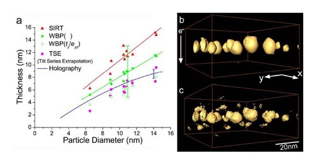 (a) The relation between particle diameter and thickness (height) for the FePd nanoparticles estimated by using several different techniques. (b) Oblique-view of the reconstructed volume processed by SIRT (upper) and (c) WBP (lower). Large discrepancy in particle thickness (height) is apparent. The reconstructed volume is 75 x 75 x 36 nm3 [13].