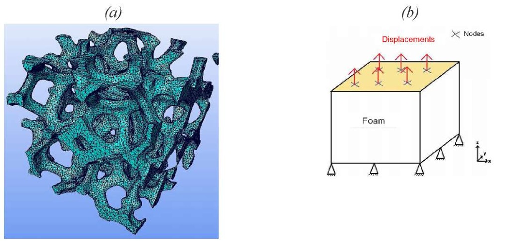 (a) mesh of a 3D T image of the foam. (b) Scheme of the boundary conditions applied to the mesh.