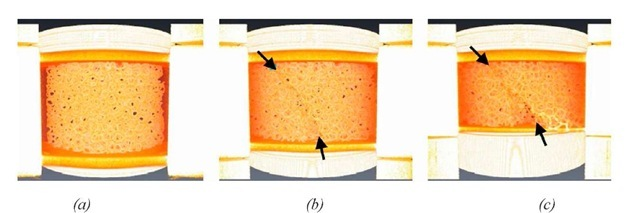 T in-situ compression test on a ceramic foam with a relative density of 0.14. Observation of the external surface using a voltex rendering [11]. 3 states of deformation: (a) Initial state, (b) 6% strain -arrows indicate the initiation of failure (c) 15% strain - Arrows indicate the evolution of damage.