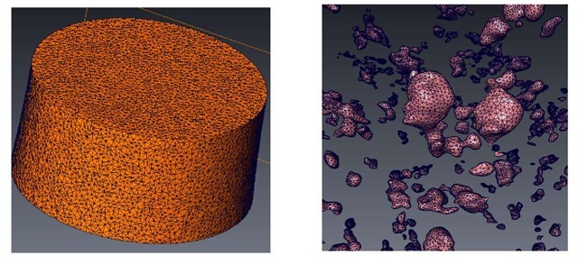3D rendering of the mesh used for the mask surrounding the region of interest (left image:15000 elements ) and for the pores contained in this region (right image:181000 elements).