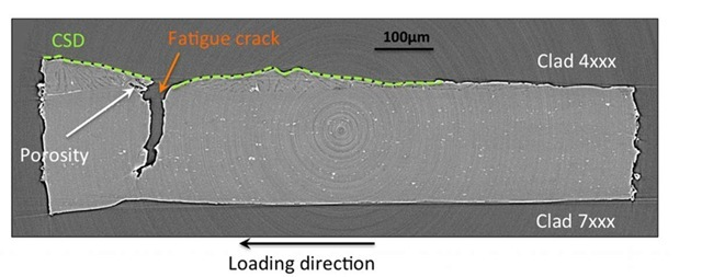 Microstructure visualisation around one fatigue crack by high-resolution X-ray tomography - A CSD (Clad Solidification Drop) is observed around fatigue crack as well as some porosity (white arrow).
