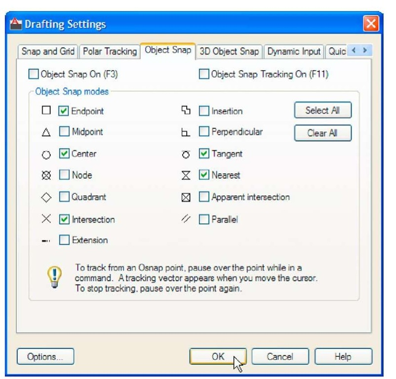 The Drafting Settings dialog with some of the Object Snaps set on