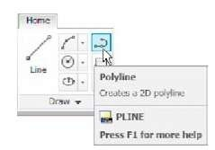 Selecting Polyline from the Home/Draw panel