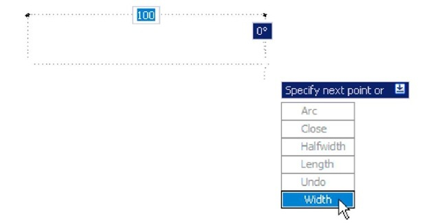 Dynamic Input - first example - Polyline – click Width in the popup menu