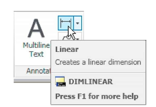 Selecting Linear from the Home/Annotation panel
