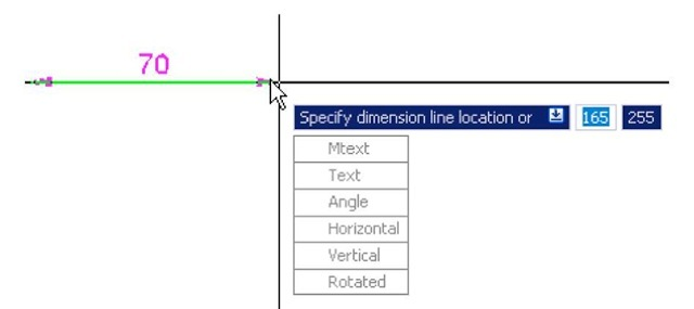Dynamic Input - third example - dimensioning - the popup menu associated with Linear dimensioning