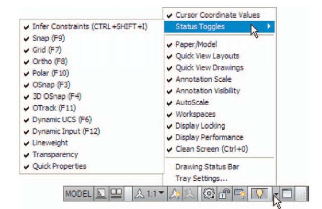 The Application Status Bar menu