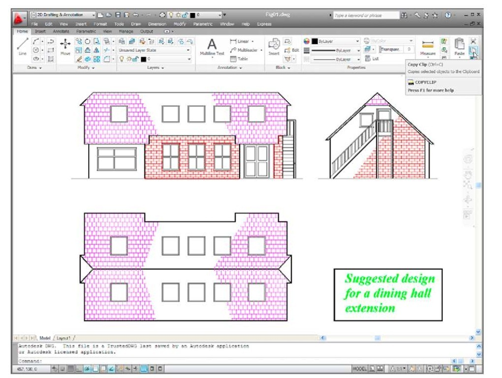 A drawing in the AutoCAD 2011 with Copy Clip selected