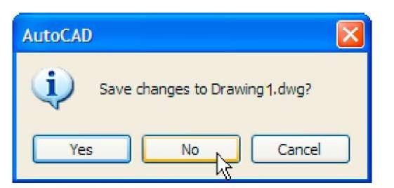 The AutoCAD warning window
