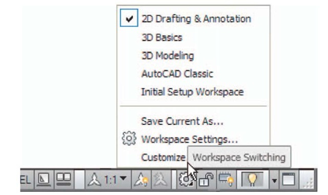 The Workspace Switching popup menu