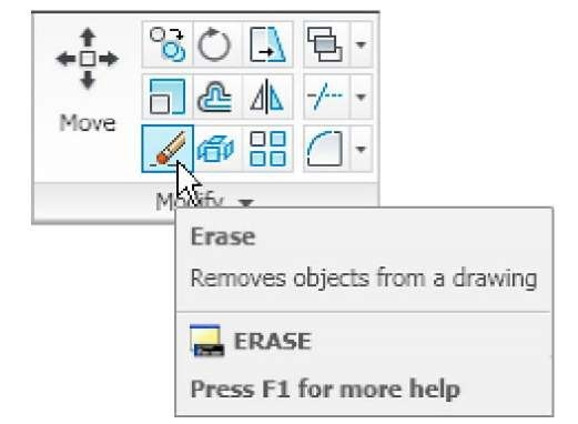 The Erase tool icon from the Home/Modify panel