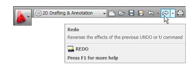 The Redo tool icon in the Quick Access toolbar
