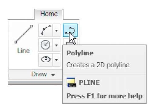The Polyline tool icon in the Home/Draw panel