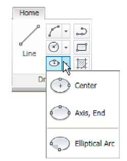 The Ellipse tool icon fly out in the Home/Draw panel