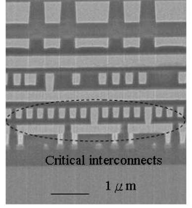TEM inspection of multilayer interconnect scheme.