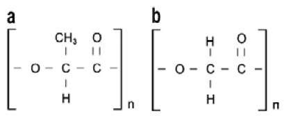 Repeated units of (a) polylactide, (b) polyglycolide.