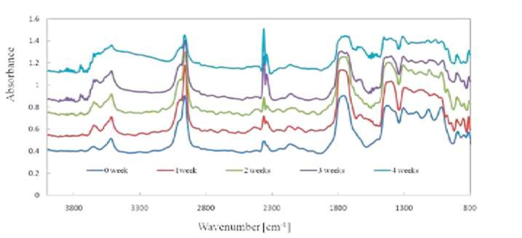 FTIR spectrum of the polyglactin 910 suture at different degradation weeks