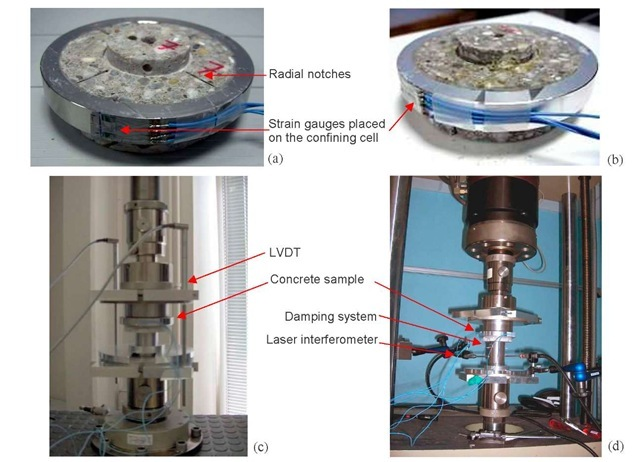Shear tests performed on R30A7 standard concrete. (a) Concrete specimen with radial notches after shear testing, (b) Concrete sample without radial notches after shear testing, (c) Device used in quasi-static shear testing, (d) Device used in dynamic shear testing and high-speed hydraulic press (LEM3).