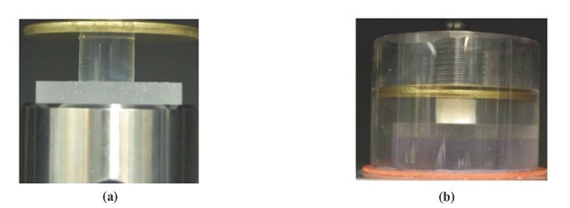 Specimen holders in Quasi-static compression (a) without water (b) with water conditions